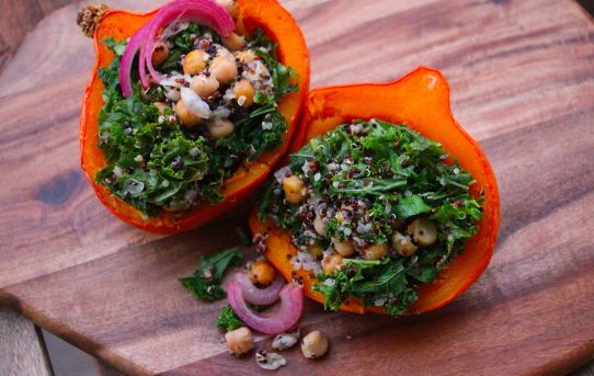 Kale, Chickpea, and Quinoa-Stuffed Red Kuri Squash with Quick-Pickled Red Onion