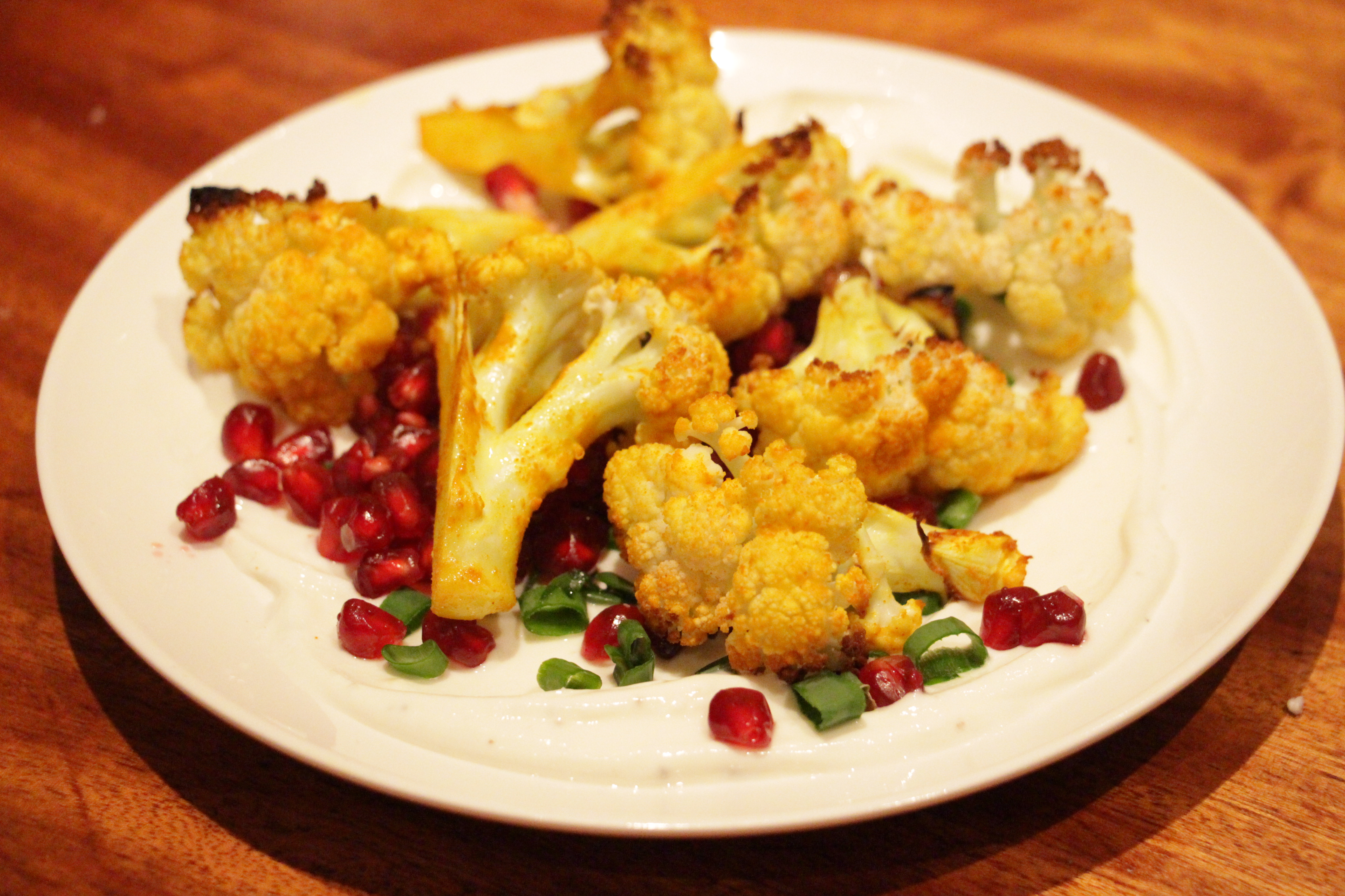 cauliflower with turmeric and pomegranate