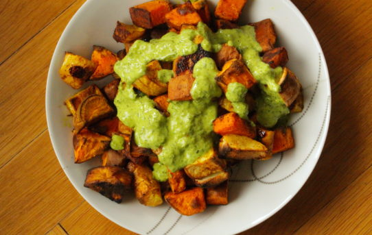 sweet potatoes with parsley sauce