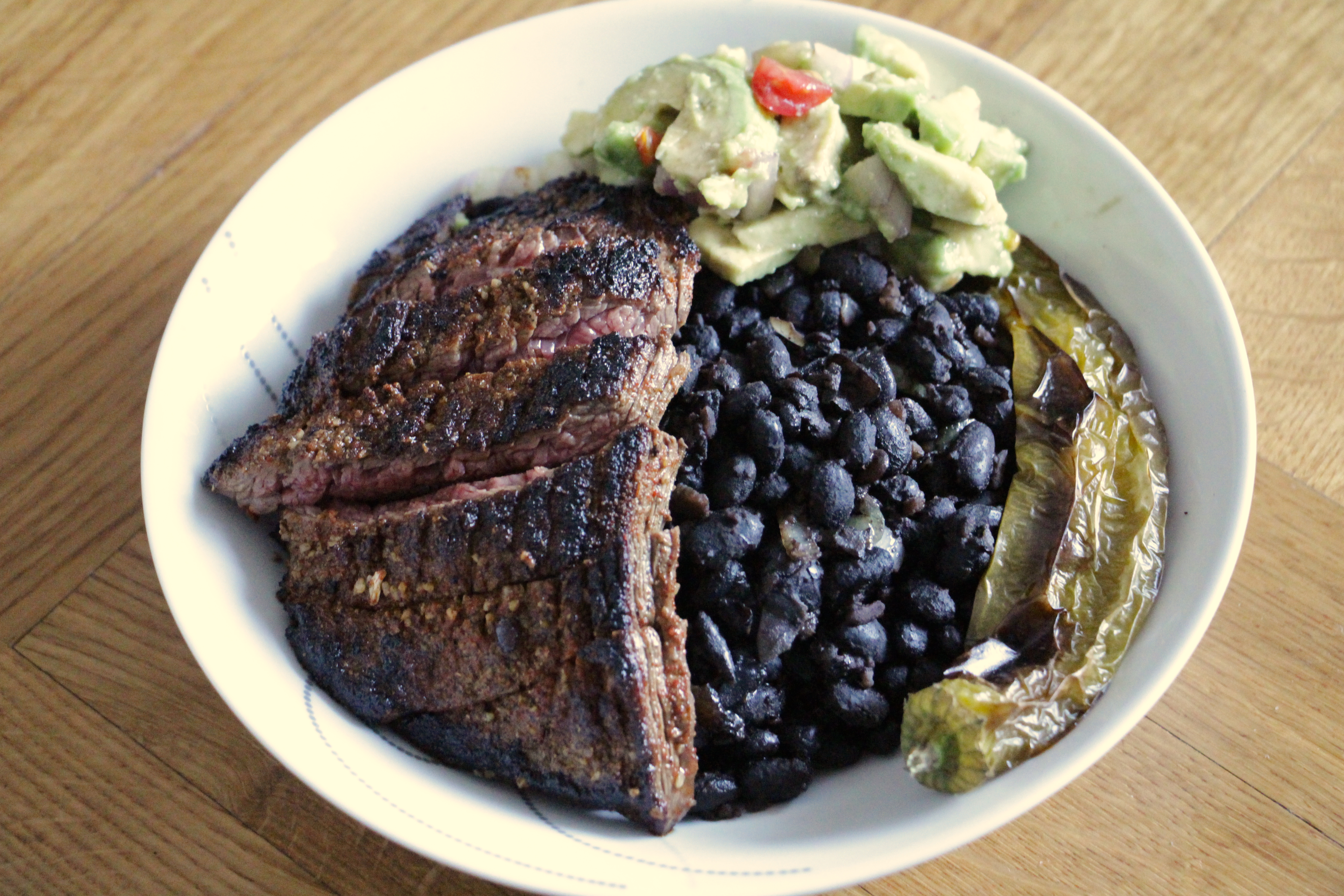 steak and bean bowl with guacamole