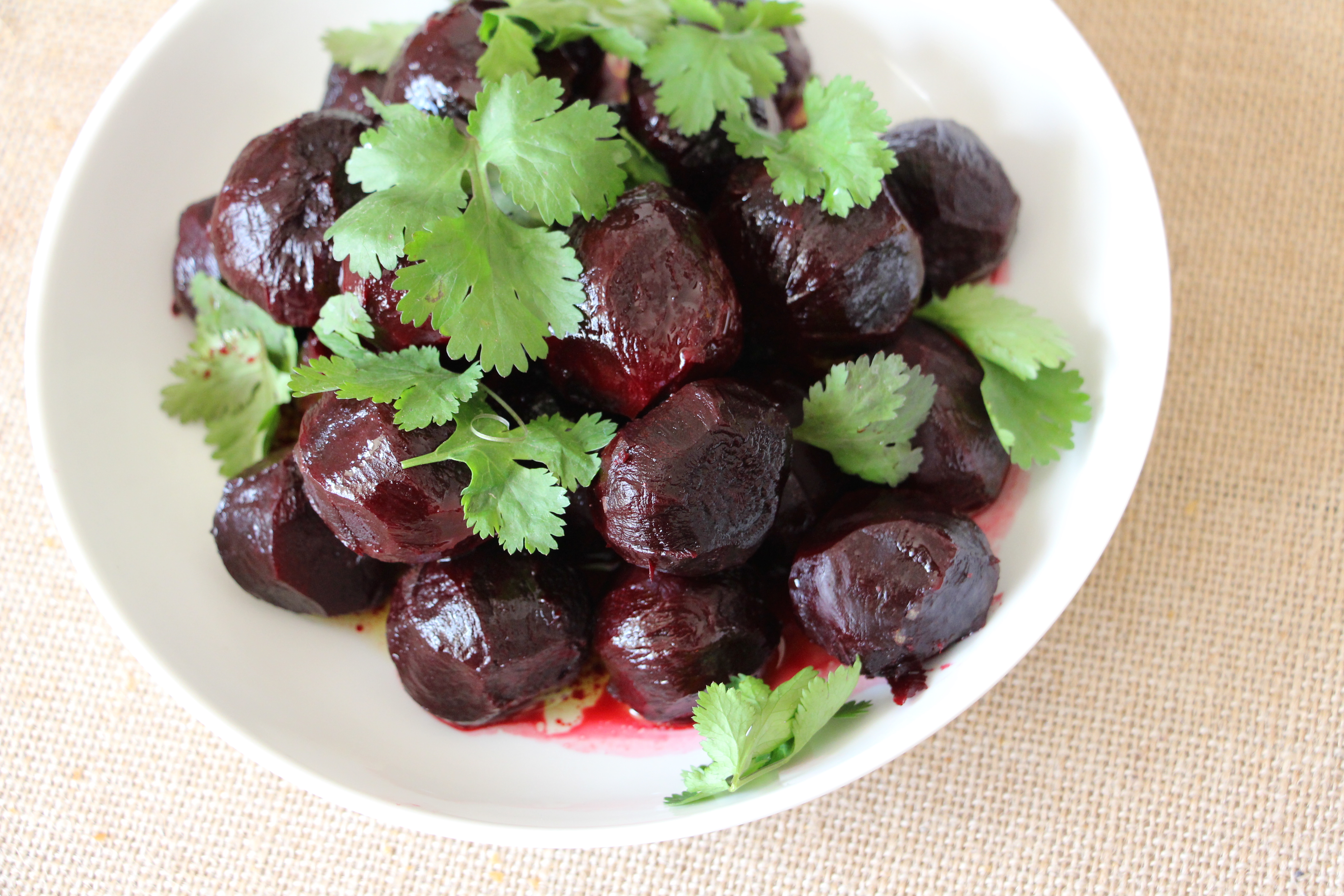 baby beets with coriander