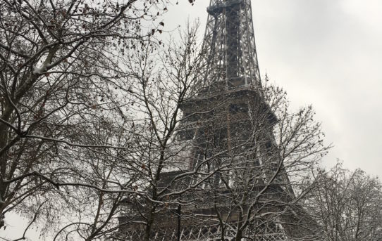 snowy eiffel tower
